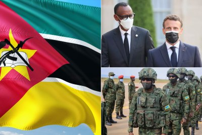Mozambique flag, left, Rwandan President Paul Kagame and French President Emmanuel Macron, top right and Rwandan soldiers (file photo).