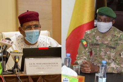 Le président du Niger, Mohamed Bazoum (à gauche) et le président de la transition au Mali, Assimi Goïta