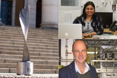 Far left: NSTF-South32 trophy. Top-right: Professor Sheetal Silal, an Associate Professor in the Department of Statistical Sciences and director of the Modelling and Simulation Hub, Africa.. Bottom-right: Professor Michael Claeys of the Department of Chemical Engineering  and director of the DSI-NRF Centre of Excellence in Catalysis.
