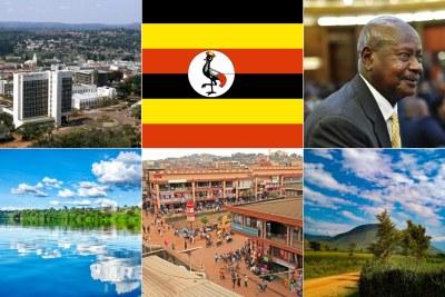 Kampala, Uganda flag, President Yoweri Museveni, Nile River, Kasese District