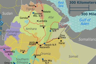 Ethiopia's regions, with Tigray and Amhara in the north, and Oromia further south.